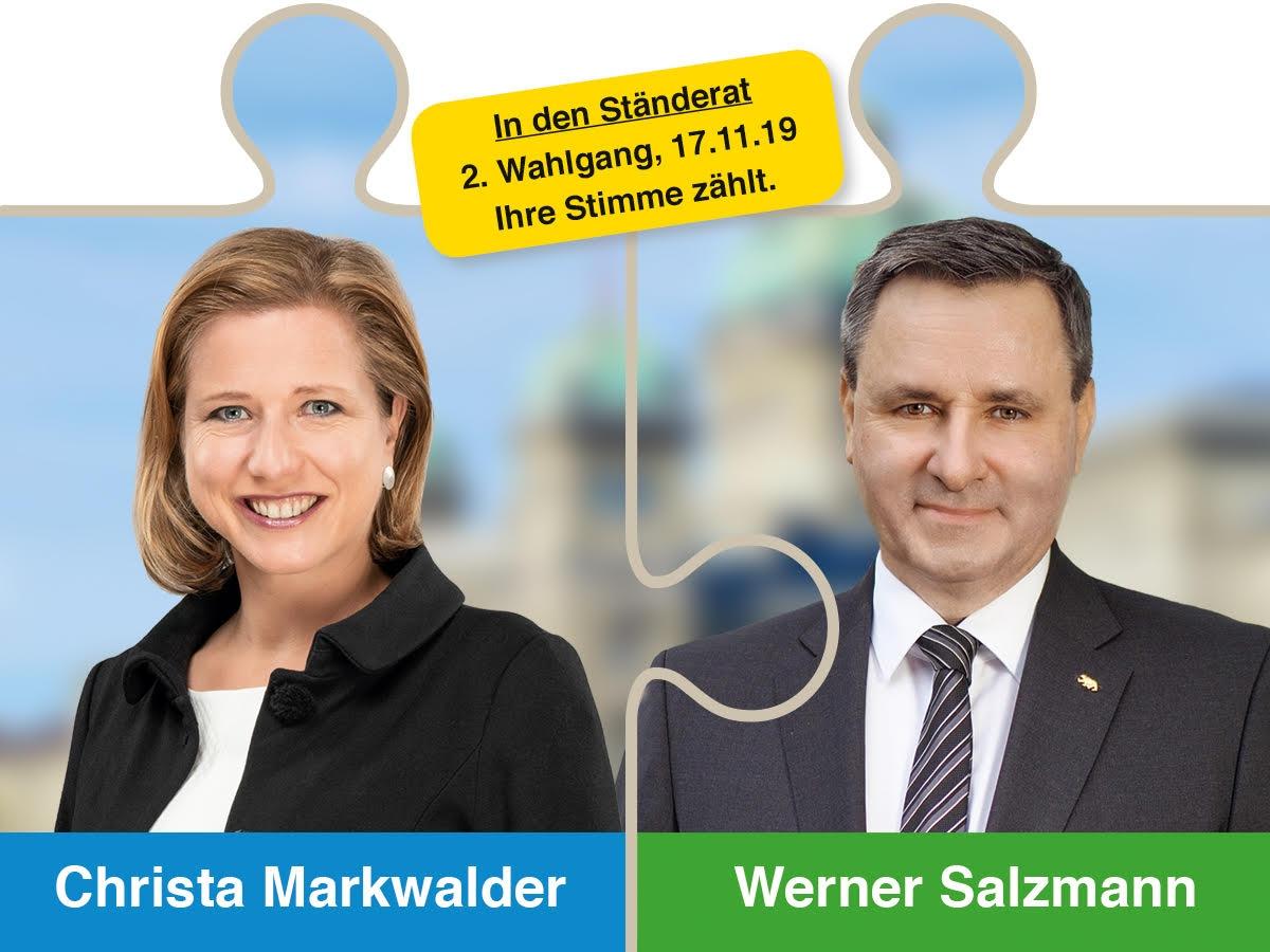 Mit Christa Markwalder und Werner Salzmann in den Ständerat